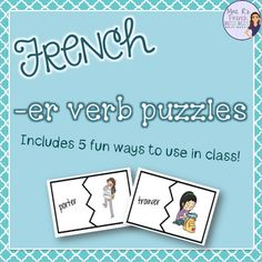 If you need a fun way for students to practice their French -er verbs, check out these puzzles!  You can cut them apart and use them as puzzles, but you can also use them to play concentration, as flashcards, to make partners, for speaking activities, and much more.