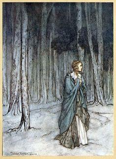 oldbookillustrations:    The lady enters.  Arthur Rackham, from Comus, by John Milton, New York, London, 1921. Via archive.org.