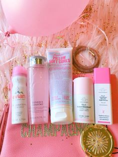 Pink   Pink makeup flatlay   pink makeup bag   beauty beauty products   Pink Drunk Elephant products   Pink Lancome toner   Pink Evian facial spray   Pink Miss Jessie's hair product   product review   Pink aesthetic   pink balloon   pink and gold  