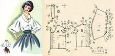 Dress Pattern Free Vintage Projects 48 New Ideas Vintage Dress Patterns, Dress Sewing Patterns, Free Sewing, Vintage Sewing Patterns, Clothing Patterns, Fashion Sewing, Diy Fashion, Vintage Fashion, Couture Vintage