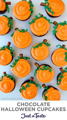 Are you ready to sweeten up the scariest night of the year? Then look no further than these festive Halloween Cupcakes starring dense and fudgy chocolate cake paired with sweet and tangy cream cheese frosting. justataste.com #recipes #desserts #halloweendesserts #creamcheesefrosting #chocolatecupcakes #halloween #justatasterecipes Halloween Party Snacks, Halloween Desserts, Buffet Halloween, Hallowen Food, Halloween Torte, Halloween Backen, Halloween Chocolate, Holiday Desserts, Halloween Recipe