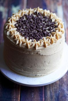 Banana Chocolate Chip Layer Cake with Peanut Butter Frosting via The Baker Chick