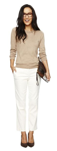 Spring and summer work outfits. Business casual style with light colored dress pants, tan or light brown sweater with leopard print laptop case and heels #ad #workstyle #businesscasual #spring