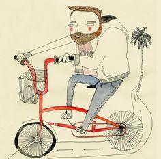 Nico, bicycle, Barcelona - amaia arrazola illustration