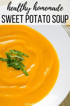 Need something to warm you up? This healthy sweet potato soup with coconut milk is like a warm hug in a bowl. So creamy! It's such an easy recipe: only 5 minutes of prep time and 5 ingredients. And it's paleo vegan gluten-free and Easy Whole 30 Recipes, Easy Soup Recipes, Dairy Free Recipes, Paleo Recipes, Real Food Recipes, Gluten Free, Lunch Recipes, Sweet Recipes, Dinner Recipes