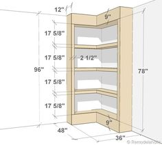 DIY Built-in Corner Bookshelves, via Remodelaholic. pantry dimensions Build Your Own Corner Bookshelves Furniture Projects, Home Projects, Diy Furniture, Shabby Chic Furniture, Corner Bookshelves, Book Shelves, Kitchen Shelves, Corner Closet Shelves, Bookshelf Closet