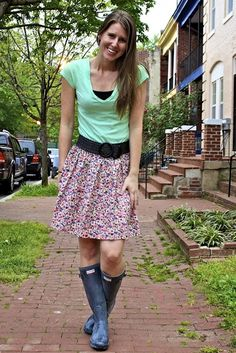 cute outfit with rain boots