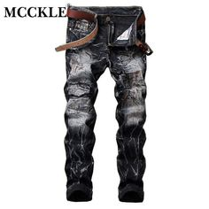 2017 Men's Ripped Slim Fit Skinny Jeans Pants