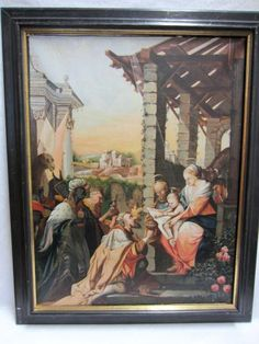 """ANTIQUE BAROQUE ITALIAN OIL PAINTING ON CANVAS """"THE NATIVITY"""" ca 1600-1700…"""