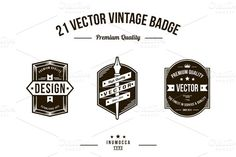 Check out 21 Vintage Badges (CLEAR & CRACK) by inumocca on Creative Market