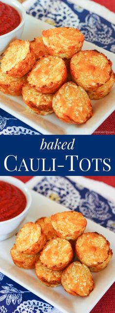 Healthy Snacks Baked Cauli Tots - cauliflower tots are the healthy, veggie-packed alternative to tater tots - Cheesy, crispy, so amazingly good that they'll easily replace those other tots as your family's favorite side dish. Cauli Tots, Cauliflower Tots, Cauliflower Recipes, Baby Food Recipes, Low Carb Recipes, Cooking Recipes, Healthy Recipes, Bariatric Recipes, Vegetable Dishes