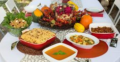 Recipes for a Plant-Based Thanksgiving 2013 (by Del Sroufe) including: - Autumn Wheat Berry Salad - Sweet Potato Bisque - Vegetable Stock - Mixed Winter Vegetables with Spicy Poppy Seed Sauce (by Darshana Thacker) - Shepherd's Pie (by Judy Micklewright) - Pumpkin Bread Pudding (by Isa Chandra Moskowitz) - Vanilla Bean Whip (by Isa Chandra Moskowitz)