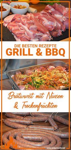 Wenn die selbstgemachte Bratwurst mit Nüssen Bbq Grill, Grilling, Outdoor Cooking, International Recipes, Creative Food, Pulled Pork, Delish, Beef, Dinner