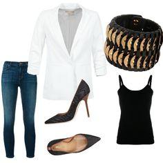 f8d2c3a6cd0b Blazer bianco  outfit donna Chic per serata fuori