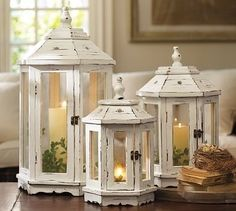 A trio of charmingly lovely shabby chic gazebo inspired lanterns. #home #decor #lanterns #lighting #candles #shabby #chic