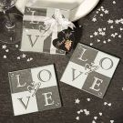 On your day, L-O-V-E spells everything you've ever wanted. These frosted glass coasters make elegant and useful wedding favors, ones that your guests will truly appreciate and use for years to come.Share the LOVE!