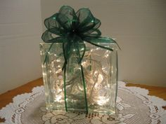 Green Sparkle Ribbon on clear glass block on Etsy, $26.92 CAD