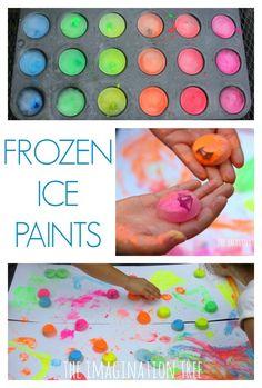 Frozen Ice Paints - The Imagination Tree Childcare Activities, Sensory Activities, Infant Activities, Preschool Activities, Sensory Play, Nursery Class Activities, Outdoor Toddler Activities, Creative Activities For Toddlers, Space Preschool