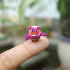 1/2 inch tiny crochet owl - Tiny amigurumi animal