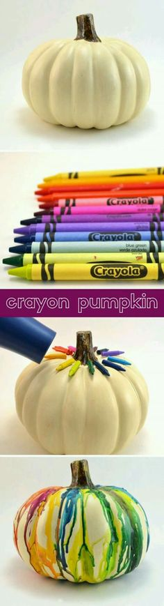 This easy DIY fall or halloween melted crayon pumpkin craft is super simple and a ton of fun for the kids and family to make! Holidays Halloween, Fall Halloween, Halloween Crafts, Holiday Crafts, Holiday Fun, Halloween Party, Homemade Halloween, Adornos Halloween, Manualidades Halloween