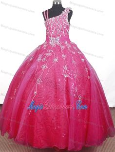 2014 Beading and Flowers for Strap Indiana Little Girl Pageant Dress
