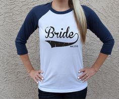 The perfect shirt for a Bride and Honeymoon Travels and getting ready morning of, just lounging around the house! Show off that your a Bride with