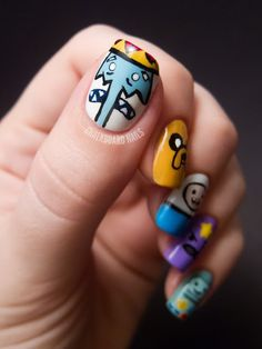 Adventure Time Nail Art...Awesome! I really need to see some adventure time episodes!