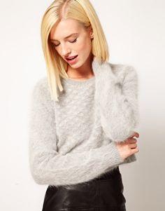Image 1 of Kore by Sophia Kokosalaki Fluffy Angora Grid Panel Crop Sweater
