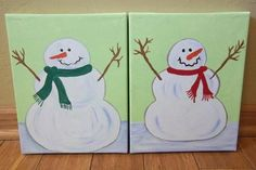 Set of 2 Snowmen Snowman Painted Paintings on by ipaintstuff, $30.00