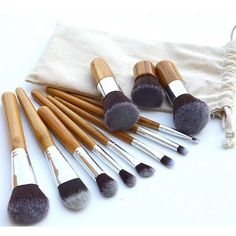 Practical 11 Pcs Nylon Makeup Brushes Set with Gunny Bag (11 BAM) ❤ liked on Polyvore featuring beauty products, makeup, makeup tools and makeup brushes