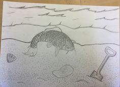 Vandaag heb ik de zandkorrels op het strand gemaakt. Dat ging goed. Het was wel veel werk. De volgende week ga ik de zee afmaken