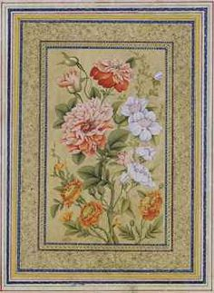 STUDY OF FLOWERS SIGNED MIRZA AGA IMAMI, QAJAR IRAN, 19TH CENTURY