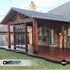 This amazing pergola patio is undeniably a notable design alternative. Patio Roof, Pergola Patio, Gazebo, Pergola Kits, Cheap Pergola, Backyard Patio Designs, Backyard Landscaping, Backyard Porch Ideas, Porch Designs