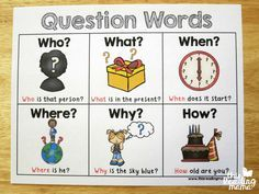 question words chart - comes in color and black and white English Grammar For Kids, Kids English, English Language Learners, English Lessons, Teaching English, Grammar Activities, English Activities, Writing Activities, Kindergarten Anchor Charts