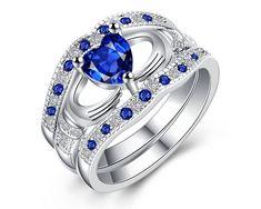 Set de 3 inele placate cu argint cu cristale albastre in forma de inima, inele de casatorie pentru femei