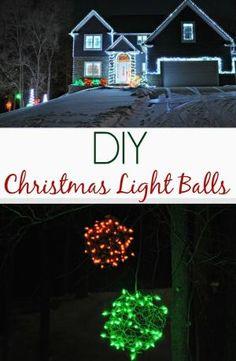 DIY Christmas Light Balls. Easy outdoor holiday lighting idea! by essie