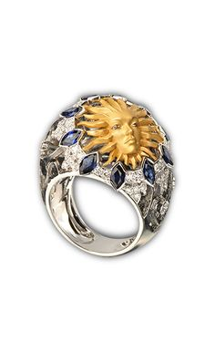 Ring Cupula sol SO 1705.2 Yellow and white gold 18KT, diamonds and blue sapphires