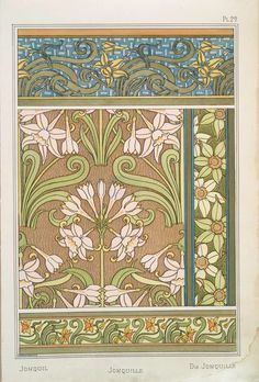 Eugene Grasset -Jonquil - Pochoir Prints 1896 -- published in 1896 under the direction of famed graphic designer, author and teacher Eugène Grasset, whose creations became cornerstones of Art Nouveau patterns and motifs Fleurs Art Nouveau, Motifs Art Nouveau, Art Nouveau Pattern, Art Nouveau Design, Art Floral, Floral Design, Eugene Grasset, Art Nouveau Illustration, Jugendstil Design