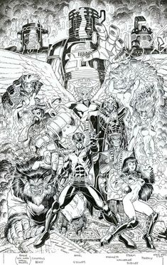"astonishingx: "" X-Men: Millennial Visions 2000 by Arthur Adams Look at the footnote to understand who is who… "" Comic Book Artists, Comic Artist, Comic Books Art, Black And White Comics, Black White Art, Marvel Comic Character, Character Art, X Men, Marvel Comics"