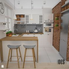 Projekt kuchni i salonu - Średnia otwarta kuchnia w kształcie litery g, styl skandynawski - zdjęcie od OES architekci Small Kitchen Cabinet Design, Small Kitchen Cabinets, Kitchen Designs, Kitchen Sets, Kitchen Dinning, Small Kitchens, Kitchen Colors, Kitchen Pantry, Interior Design Kitchen