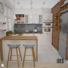 Projekt kuchni i salonu - Średnia otwarta kuchnia w kształcie litery g, styl skandynawski - zdjęcie od OES architekci