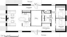 plan de maison sur un terrain rectangulaire