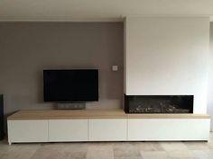 Ikea Fireplace, Living Room Decor Fireplace, Home Fireplace, Modern Fireplace, Living Room Tv, Fireplace Design, Living Room Lighting, Home And Living, House Extension Design