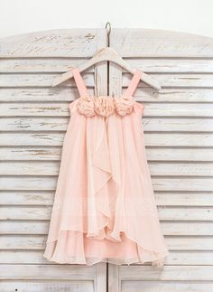 A-Line/Princess Straps Knee-length Ruffles Flower(s) Chiffon Sleeveless Flower Girl Dress Flower Girl Dress
