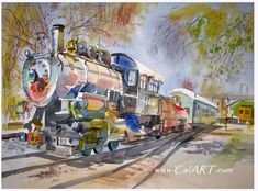 California art - California style watercolor art and American impressionist art.
