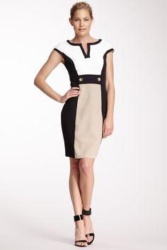 Split Neck Colorblock Dress by Sandra Darren on @HauteLook
