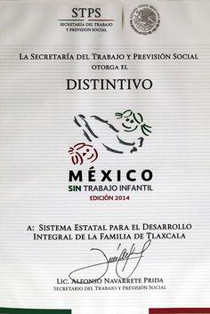 """RECIBE DIF ESTATAL EL RECONOCIMIENTO """"MÉXICO SIN TRABAJO INFANTIL"""""""