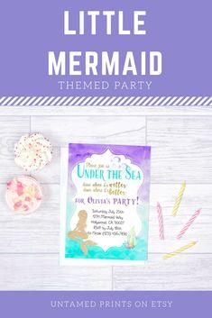 Super cute #littlemermaid themed party invitations!!! #underthesea #purpleandteal