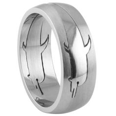 Stainless Steel Cut-out Dolphin Ring Product Code: SR-315 Face and Band Width: 8mm Finish: High Polish and Matte $6.50