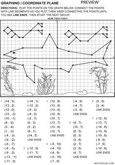 Printable Fun Coordinate Graph Worksheets | Graphing / Coordinate Plane  mathcrush.com  Great website